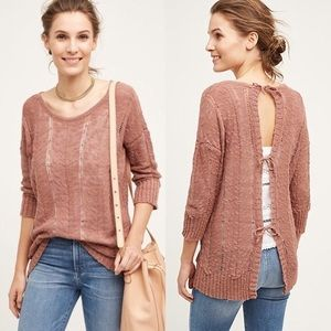 Anthro Knitted & Knotted Adeline Tie-Back Sweater